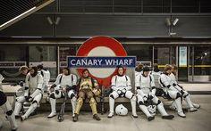 10 Incredible Behind the Scenes Photos from Rogue One: During the shooting of Rogue One: A Star Wars Story™, the Canary Wharf stop on the London Underground was transformed in the dead of night into the bustling interior of the Scarif Citadel. The production crew had one night to capture their footage, before returning the station to normal with commuters none the wiser the next day. Between takes, stormtrooper and shoretrooper extras caught some rest beside the iconic Underground symbol.