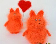 Knitted foxes amigurumi couple - Miniature fox Amigurumi Animal foxes Hand-Knitted fox Stuffed fox wool fox crochet Valentine's day gift