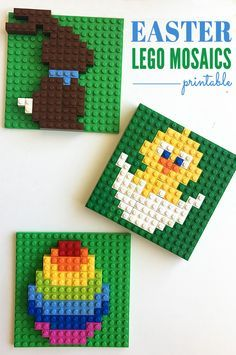 Easter Lego Mosaics Printable by Christie Burnett-With Easter approaching I thought it was the perfect time for a new set of Lego mosaics! The set includes an Easter chick (or maybe it's a duck!), a chocolate bunny and a rainbow egg.These patterns are smaller than the other mosaics in our collection, which makes them a little easier for younger children and means you'll only need a small baseplate for each design, or you can create all three on a large board.