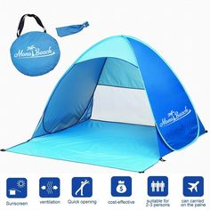 Monobeach TM Portable Outdoors Quick Cabana Beach Tent Automatic Pop Up Sun Shelter >>> Visit the image link more details. (This is an affiliate link) #TentsandShelters