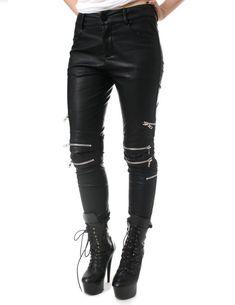 SALE 78.00 Punk Rock Vegan Armor Biker 8 Metal Zipper Faux Leather Pants  Men Women Punk 9df354df3