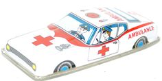 "Vintage Tin Litho Friction Powered 5-1/4"" Ambulance Car #7237 , Made in Japan"