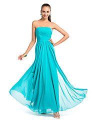schede / kolom strapless vloer-lengte chiffon avond / prom dress