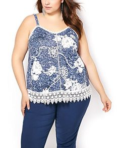 Penningtons Womens Plus Size Sleeveless Printed Top with Crochet Detail Dress Blues 4X ** See this great product.