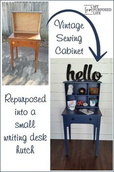 how to turn a vintage sewing cabinet and an old drawer into a new and useful writing desk hutch MyRepurposedLife.com