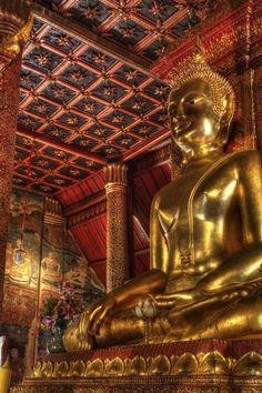 Inside an ancient Buddhist temple (Wat Phu Min) in Nan, northern Thailand.
