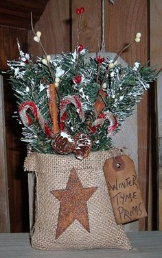 Primitive Winter Tyme Cubby Bags. use sweet annie insead of faux greens and coffee stain the bag