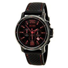 Hugo Boss 1512597 Men's Black Dial Black IP Steel Rubber Strap Chrono Watch