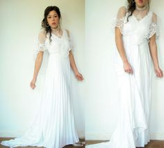 70's Vintage White Bohemian Accordion Pleated A by viralthreads, $368.00