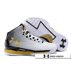 Under Armour UA Curry 1 MVP Shoes Silver Yellow Black White