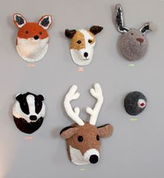 Animal-heads For those who love taxidermy, but prefer not to hunt. My nieces would thinks these are fun.