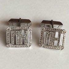 Vintage sterling silver and marcasites letters MH cufflinks. Hallmark... Lot 269