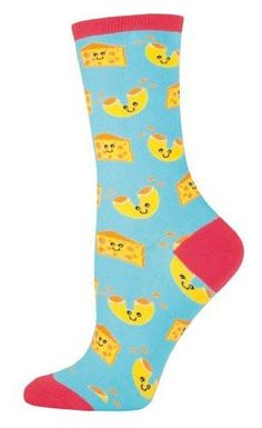 Mac N' Cheese Socks are cheesy, but in a good way! Very happy chunks of cheese and cheesy elbow macaroni on blue socks. Red top, toe, and heel. If we had a dollar for every time we ate mac and cheese socks... Do you prefer Annie's or Kraft?Approximately fits women's shoe 5-10. 63% Cotton, 34% Nylon, 3% Spandex