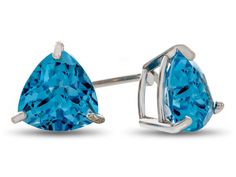 7x7mm Trillion Swiss Blue Topaz Post-With-Friction-Back Stud Earrings