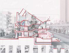 Architecture Student Portfolio, Architecture Collage, Architecture Images, Architecture Graphics, Facade Architecture, Architectural Floor Plans, Architectural Section, Architecture Concept Diagram, Diagram Design