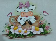 Bunny Painting, Cartoon Painting, Tole Painting, Fabric Painting, Painting On Wood, Cow Ornaments, Cow Craft, Baby Animal Drawings, Diy And Crafts