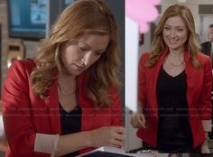 Maura's red blazer and curved bar necklace on Rizzoli and Isles.  Outfit Details: http://wornontv.net/18688/ #RizzoliandIsles