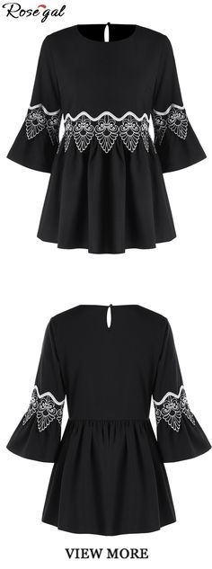 Up to 40% off. Free shipping worldwide.Applique Flare Sleeve Blouse.Fashion blouse for women.#spring#summer#blouses#rosegal#black#womens