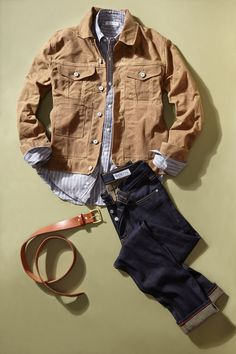 Trucker jacket, button down shirt, selvedge denim, and a fine leather belt. Brought to you by Gustin.