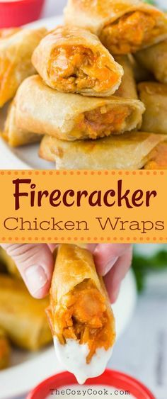 Shredded chicken tossed in a tangy firecracker sauce and served in a crunchy tortilla with Ranch dipping sauce. A perfect appetizer that everyone will love! Chicken Tortilla Wraps, Chicken Wrap Recipes, Chicken Appetizers, Chicken Wraps, Yummy Appetizers, Appetizer Recipes, Dinner Recipes, Chicken Tacos, Crispy Chicken