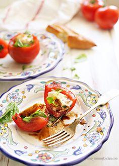 Stuffed tomato caprese salad