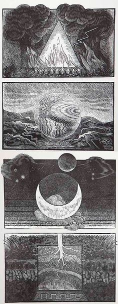 M. J. Mott, British, contemporary - The Elements; Fire, Water, Air and Earth - Wood engraving, 15 x 20 cm