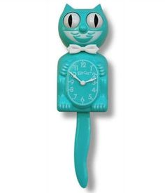 turquoise kitty cat clock