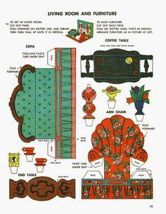 Paper Furniture, Doll Furniture, Dollhouse Furniture, Paper Doll House, Paper Houses, 3d Templates, Vintage Paper Dolls, Printable Paper, Free Printable