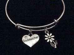 Godmother and Daisy Charm Silver Expandable Bracelet Adjustable Bangle Trendy Stacking Handmade God Mother