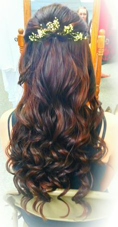Wedding hair half up half down brunette curls long