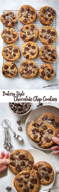 These chewy and thick bakery style chocolate chip cookies are easy to make! Recipe on Eat the Love #chocolatechipcookie #Chocolate #cookie #chip #bakery #thick #chewy