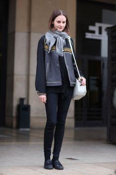 Jacket:Jewel Studded PRADA jacketScarf:Grey ScarfPants:Skinny DenimBag:White ALEXANDER WANG BagShoes:Black FlatsPhoto By:Phil Oh