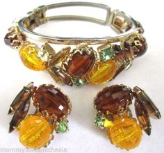JULIANA-Amber-Rootbeer-Green-Rhinestone-Bead-Clamper-Bracelet-Earring-Set