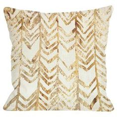 """Ivory pillow with a golden chevron-inspired design.  Product: PillowConstruction Material: Woven polyesterColor: Gold and ivoryFeatures:  Insert includedSealed closure Dimensions: 18"""" x 18""""Cleaning and Care: Spot treatment with damp cloth"""
