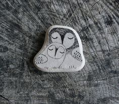 Two Beach Pottery Owls  Mama and Baby Owl by LillaJizo on Etsy, $44.00