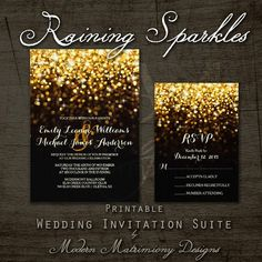 Hollywood Glam Raining Gold Sparkles Vintage by MoMaDesigns #glitterwedding