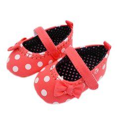 First Walkers New Sweet Newborn Baby Girls Princess Polka Dot Big Bow Infant Toddler Ballet Dress Soft Soled Anti-slip Shoes Footwear P1 Mother & Kids