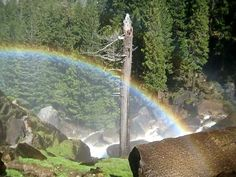 The Mist Trail rainbow. Learn the best hikes. Mist Trail, Yosemite Camping, Mirror Lake, Yosemite Valley, Close Proximity, Best Hikes, Campsite, Waterfall, Hiking