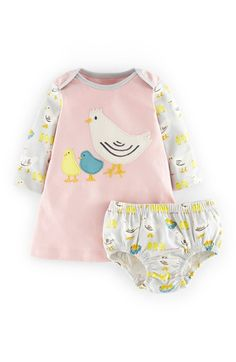 """Free shipping and returns on Mini Boden Appliqué Jersey Dress & Bloomers (Baby Girls) at Nordstrom.com. <p><B STYLE=""""COLOR:#990000"""">Pre-order this style today! Add to Shopping Bag to view approximate ship date. You'll be charged only when your item ships.</b></p><br>Brightly patterned sleeves and bloomers mirror the mother hen and chick appliqués of an irresistible cotton jersey dress."""