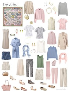 a capsule wardrobe in beige, grey, pink and light blue
