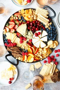 Summer Cheese Board - Brie, gorgonzola, gouda, cheddar, fresh summer berries and cherries! The ultimate killer cheese board to impress all your guests! Party Food Platters, Cheese Platters, Party Trays, Meat And Cheese, Wine Cheese, Gouda, Charcuterie And Cheese Board, Cheese Boards, Charcuterie Platter