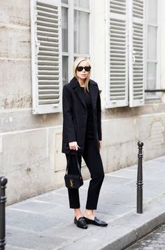 Loafers can be the perfect finish to a smart outfit for work or a more formal occasion. Victoria Tornegren looks sleek and elegant in a matching blazer and trouser suit, and a pair of patent Gucci loafers which we adore! Jacket/Trousers: Asos, Bag: Saint Laurent, Loafers: Gucci.