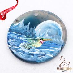 Hand Painted Hummingbird Agate Slice Gemstone Necklace Pendant D1708 1246 #ZL #Pendant