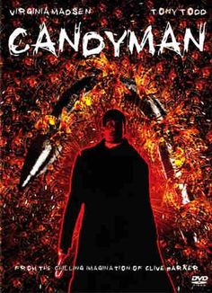 """Candyman"" - Based on the short story ""The Forbidden"" by Clive Barker. The Candyman (Tony Todd), a murderous soul with a hook for a hand, is accidentally summoned to reality by a skeptic grad student (Virginia Madsen) researching the monster's myth. Info and image credit: IMDb."