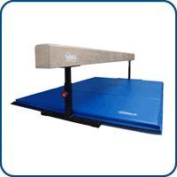 8ft Tan Adjustable Balance Beam 6ft Blue Mat Gymnastics