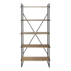 Charcoal Grey Metal and Fir Industrial Shelf Unit | Maisons du Monde
