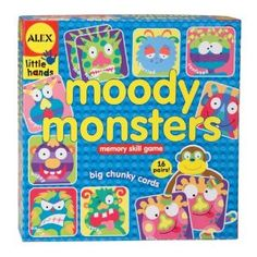 This game is great for teaching children about feelings, different ways we show feelings through our facial expressions, etc. One of my faves.  Alex Toys Moody Monsters Memory Game, Alex Little Hands Series