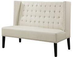 Halifax Cream Leather Banquette Bench