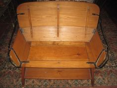 Antique Bench Wood&Iron Buggy/Stagecoach Seat Refinished With Bottom Shelf #Country
