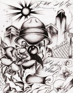 Chicano Art Designs Old skool Gangster Drawings, Gangster Tattoos, Chicano Art Tattoos, Chicano Drawings, Animal Drawings, Cool Drawings, Drawing Sketches, Pencil Drawings, Drawing Ideas